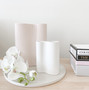 Marmoset Found - Smooth Infinity Vase - Snow (S), styled with Ribbed Infinity Vase - Nude (M)