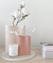 Marmoset Found - Smooth Infinity Vase - Ochre (S), styled with Smooth Infinity Vase - Nude (M), and Cloud Round Platter Chalk White (L)