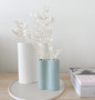 Marmoset Found - Smooth Infinity Vase - Blue (S), styled with Smooth Infinity Vase - Snow (M) and Cloud Round Platter Chalk White (L)