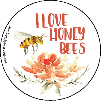 "I love honey bees (roll of 250 - 1.5"" stickers) [IL-B]"