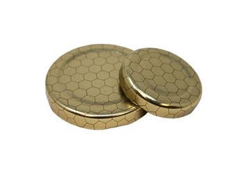 3 oz. skep jar with gold lid with Hex Design