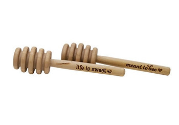 Wooden engraved honey dipper