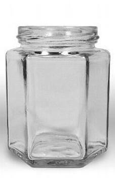 9 fluid oz. (270 ml) Glass Hex (12/case w/63mm LUG lids) [HEX09]
