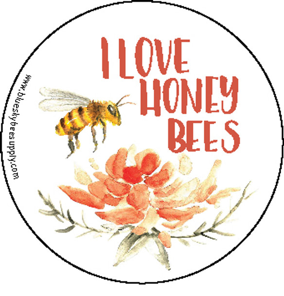 "I love honey bees (roll of 1000 - 1.5"" stickers) [IL-B]"