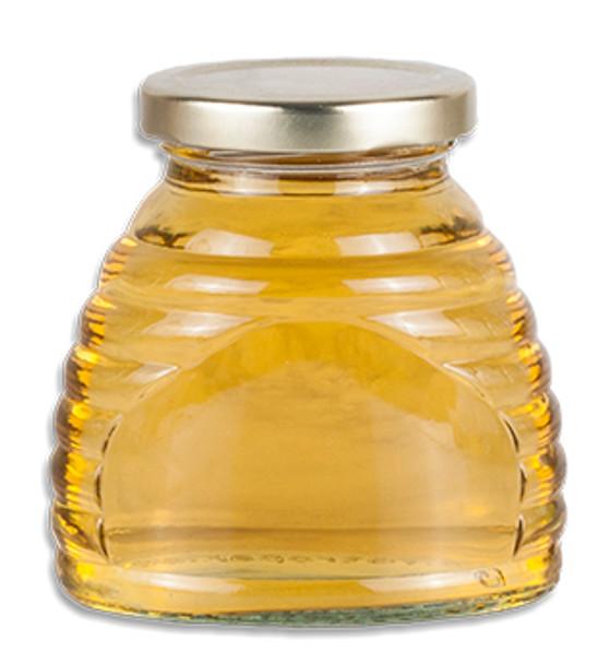 3 oz. skep jar with plain gold LUG lid