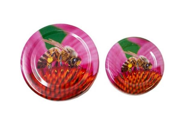 3 oz. skep jar with Pink Flower with Bee Design lid