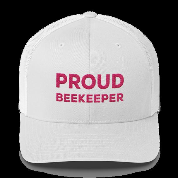 Proud Beekeeper Trucker Cap (white & pink)