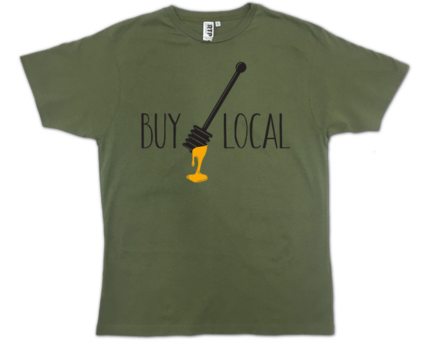 Olive Green Buy Local Honey T-shirt