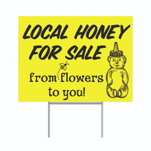 Local Honey for Sale Sign with bear (includes metal stand) [LHSY]