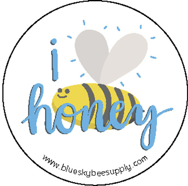 "I love honey (roll of 1000 - 1.5"" stickers) [IL-A]"