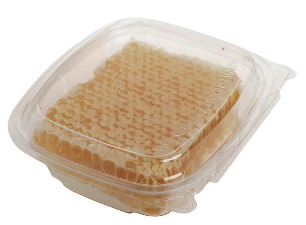 Hinged clear comb honey tray