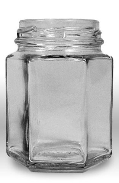 3.75 fluid oz. (110 ml) Glass Hex (12/case w/48mm LUG lids) [HEX04]