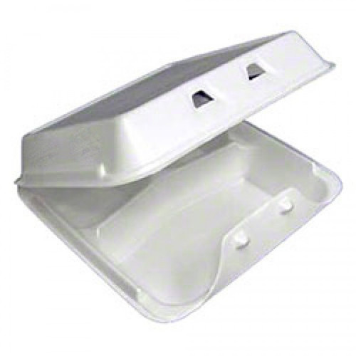 """Pactiv - YHLW-0803 - Foam Hinged Container Double Lock 8""""X8""""X3"""" 150/Case"""