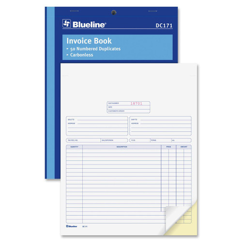 "Blueline DC171 - 8.5 x 11"" Duplicate Invoice Book - 50 Invoices/book - 1 Each"