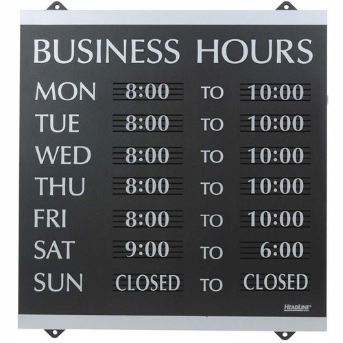 """Headline Sign #4247 - Century Series """"Business Hours"""" Sign, 14"""" x 13"""" - Each"""