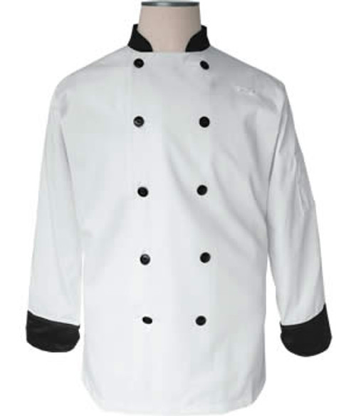 CI12139 XL - Bodyguard White with Black Trim Chef Coat Extra Large