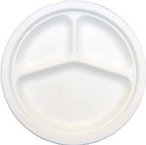 "Soline - Harvest Pac - HP093 - 9"" 3-Compart. Bagasse Heavy Paper Plates - 4 x 125/Pack = 500/Case"