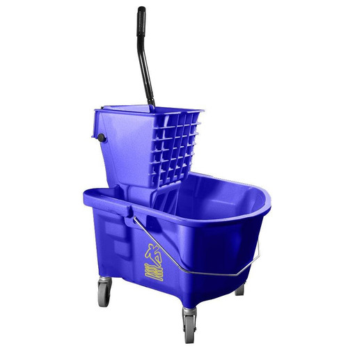 Continental - 335-37BL  - 35 Qt. Splash Guard™ Blue Downpress Mop Buckets + Wringer Combo 1 COMBO/Pack