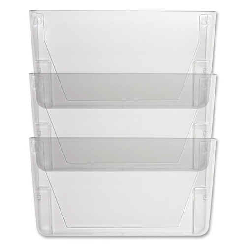 """Sparco 60001 - Mountable Wall File Pockets - 13.1"""" Height x 14.8"""" Width x 4.3"""" Depth - Clear - 3/Pack"""