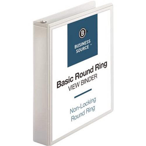 """Business Source BSN09955 - 1.5"""" Binder, White, 2 Pockets, Front And Back Sheet Holder, Each"""