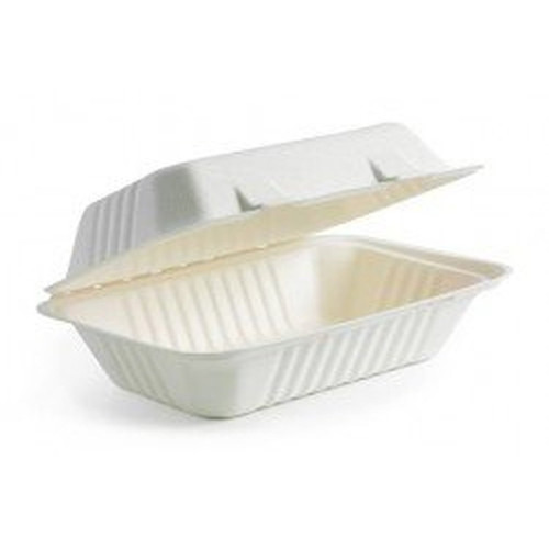 Soline - HarvestPac - HP961 - 9 x 6 x 3 - Bagasse Hinged Container - 2 x 100/Pack = 200/Case
