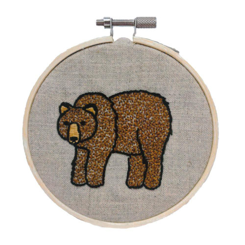 Hand Embroidery Kit - Grizzly Bear