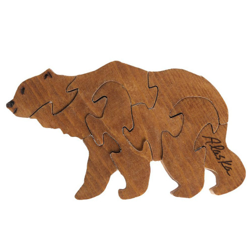 Handmade Wooden Puzzle - Brown Bear