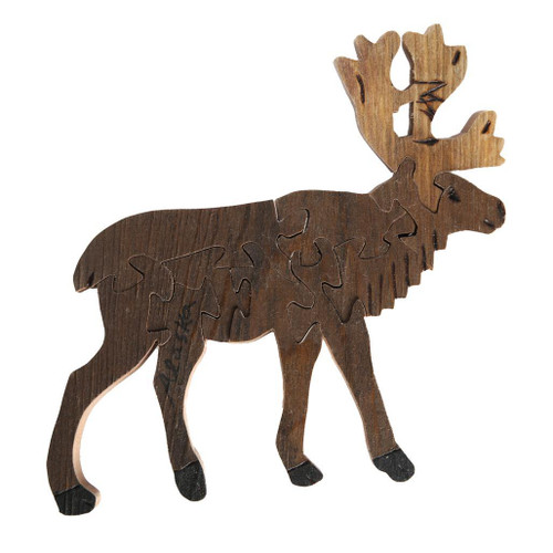 Handmade Wooden Puzzle - Caribou