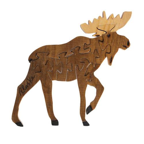 Handmade Wooden Puzzle - Moose