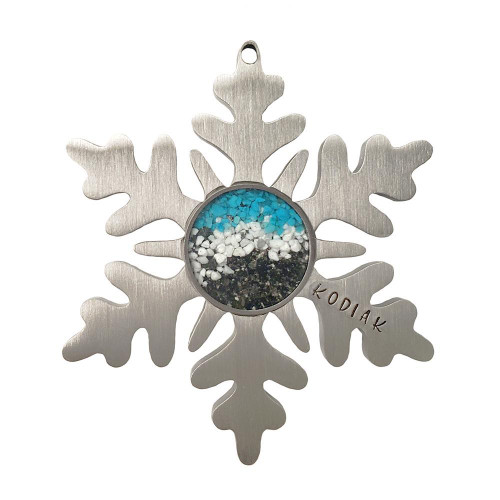 Ornament - Kodiak Pebble & Sand Snowflake