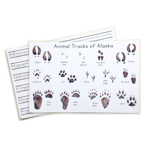 Alaska Animal Tracks Writeable Placemat