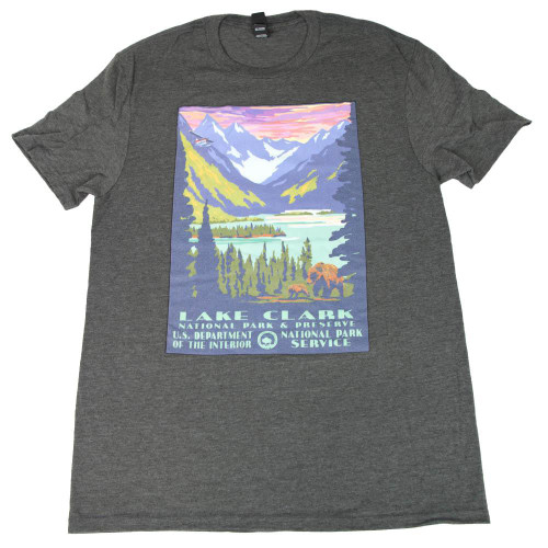 T-Shirt - Black Retro - Lake Clark