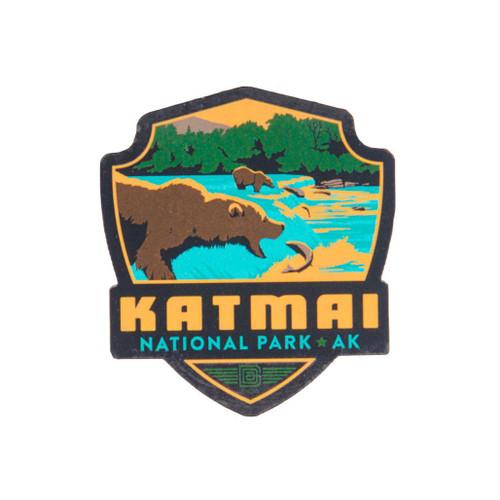 Wood Magnet - Retro Katmai Emblem