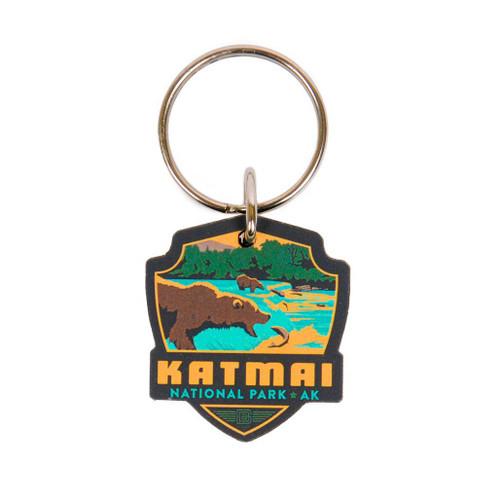 Keychain - Wooden Retro Katmai Emblem