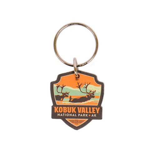 Keychain - Wooden Retro Kobuk Valley Emblem