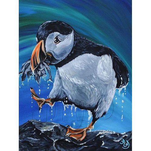 Matted Print - Glutton Puffin - Megan Genevieve