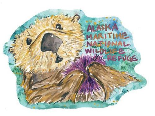 Sea Otter Sticker Alaska Maritime NWR