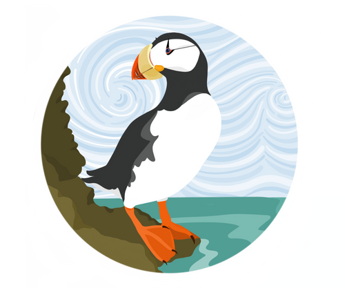 Sticker- Horned Puffin AK Conifer