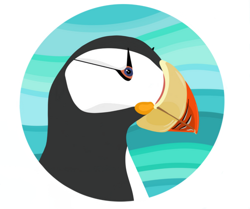 Sticker-Horned Puffin Head