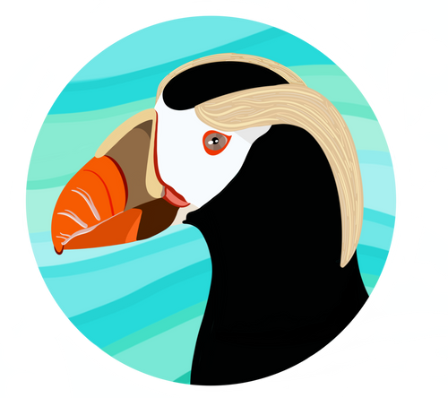 Sticker-Tufted Puffin Head