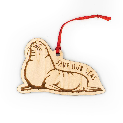 Wood Ornament - Save Our Seas