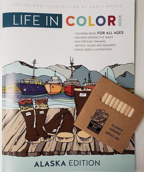 Life In Color Coloring book with Glacier Bay Colored Pencil Set