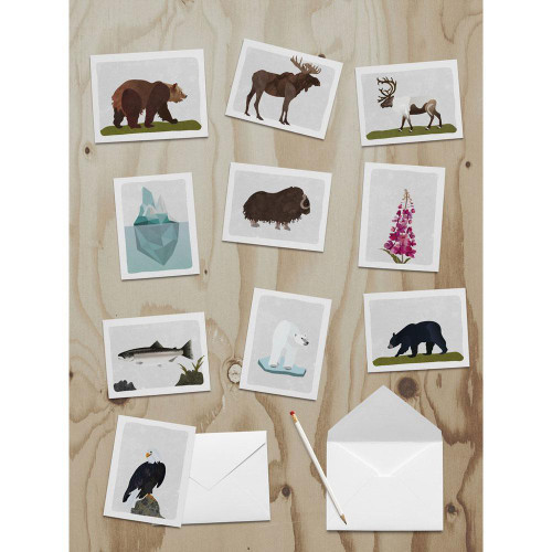 Note Card 10 Pack - Alaska Wildlife - Wren and The Raven