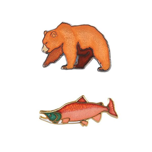 Pin Set - Katmai Collector's Bear & Salmon