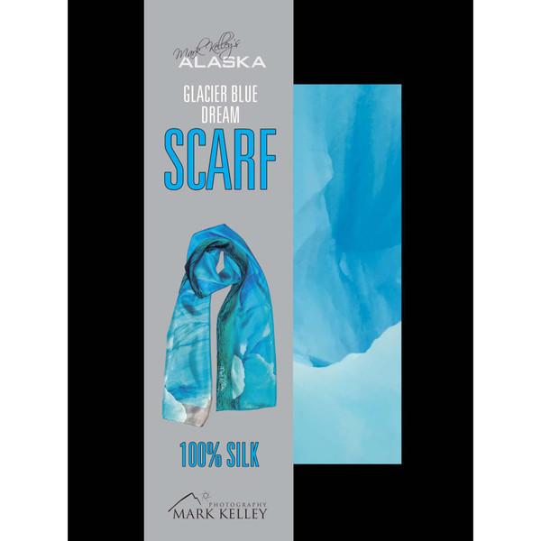 Glacier Blue Dream 100% Silk Scarf