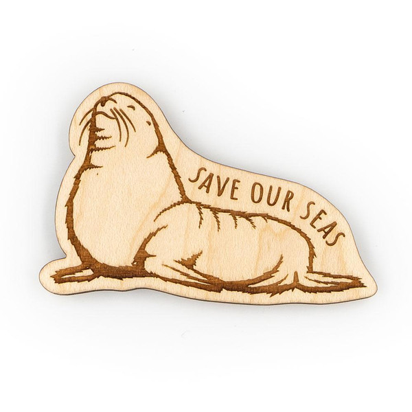 Wood Magnet - Save Our Seas