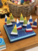 SORRY OUT OF STOCK FOR 2019 Hand Made Hand Painted Wooden Nautical Tic Tac Toe Sailboat Game - Maine Artist Mary Beth Canedy