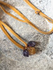 Ametrine Triple Drop Pendant on Chestnut Leather