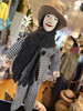 Marionette Puppet Boy in Brown Hat with Check Suit