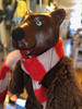 Marionette Puppet Brown Bear in Striped Scarf